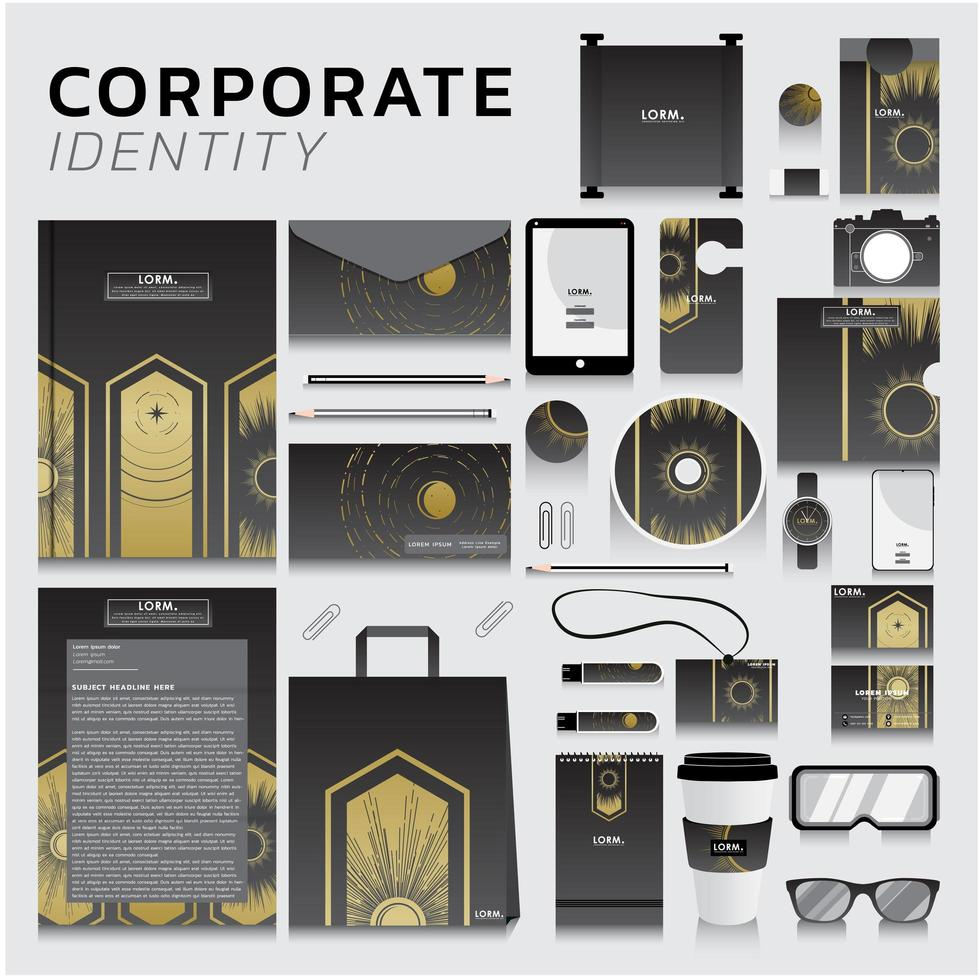 företagsidentitet med gulddesign på grått vektor