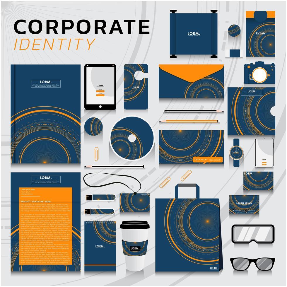 företagsidentitet i blått och orange med cirklar vektor