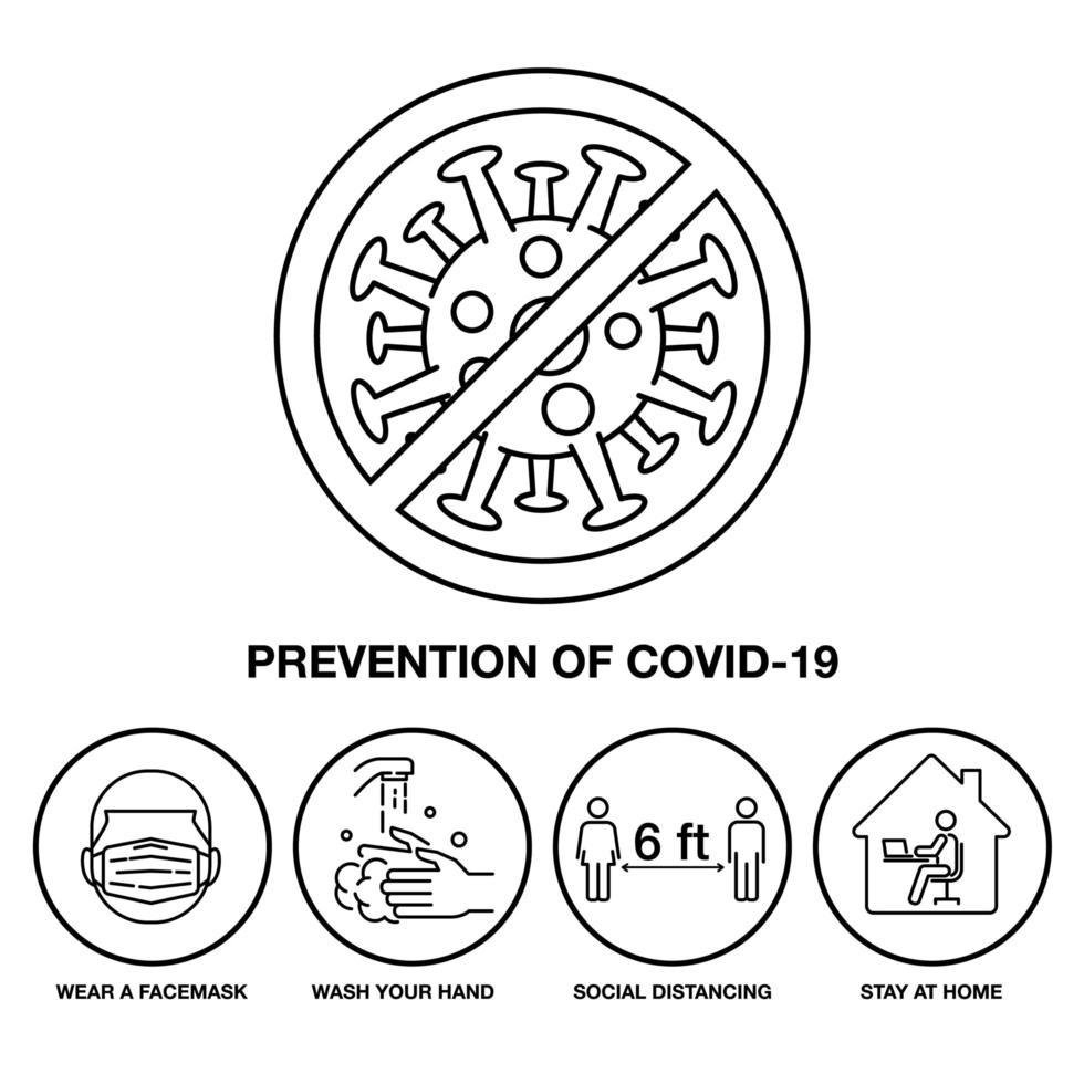 Symbolsatz zur Verhinderung von covid-19 vektor