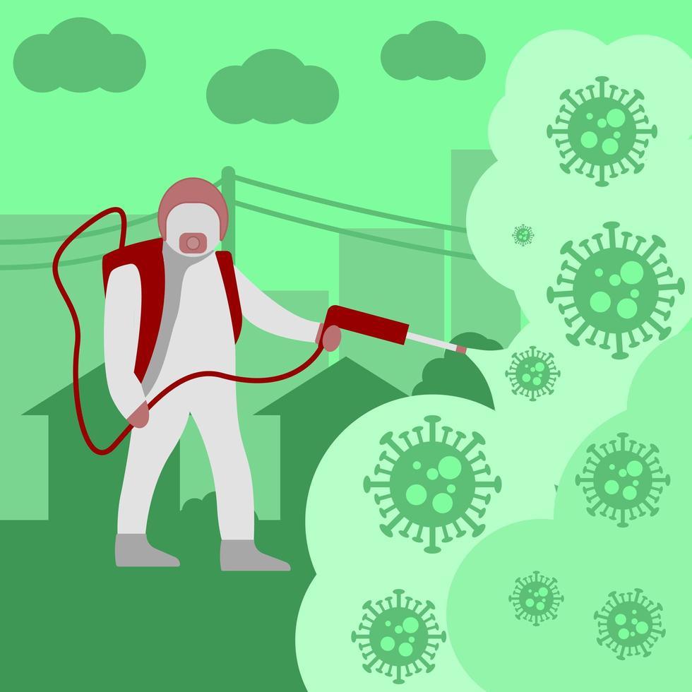 Sanitäter in Hazmat Sprühdesinfektionsmittel vektor