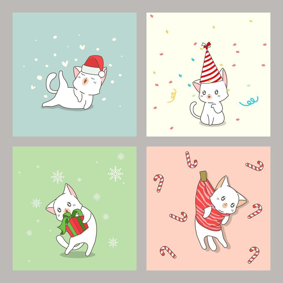 Hand gezeichnete Weihnachtskatze Kartensatz vektor