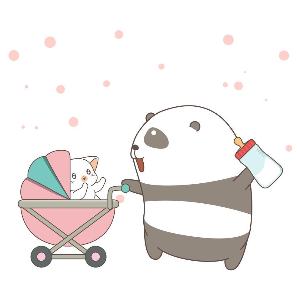 handritad panda som skjuter vektor