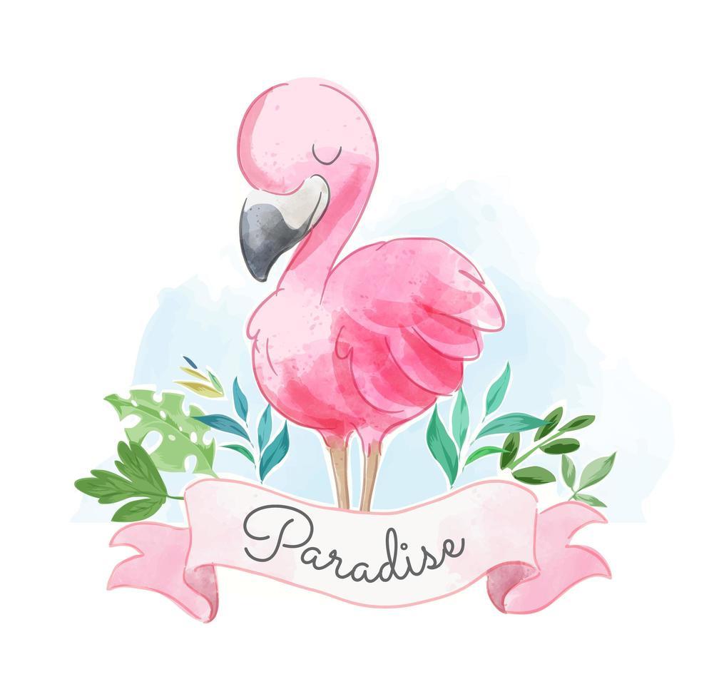 süßer rosa Flamingo mit Paradieszeichen vektor
