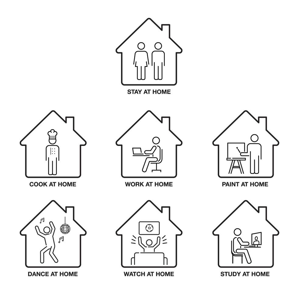 zu Hause bleiben Icon Set vektor