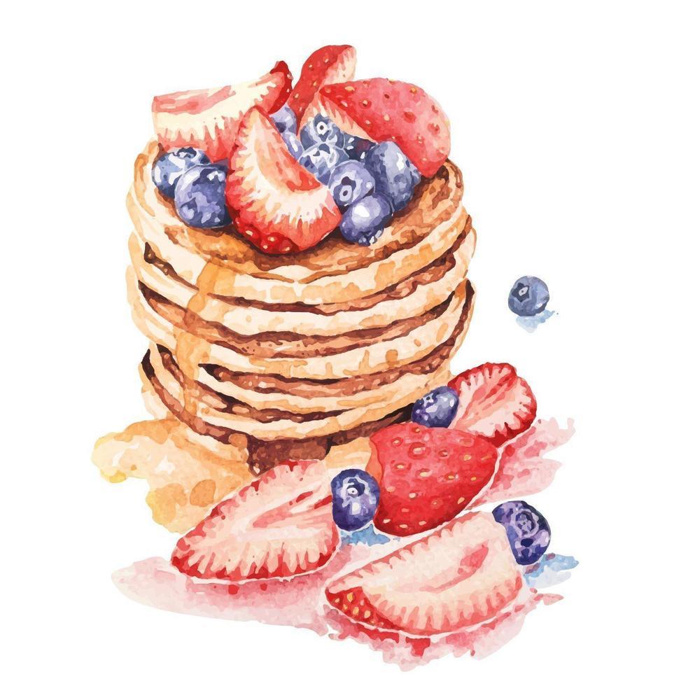 akvarellpannkakor toppad med honung och jordgubbar vektor