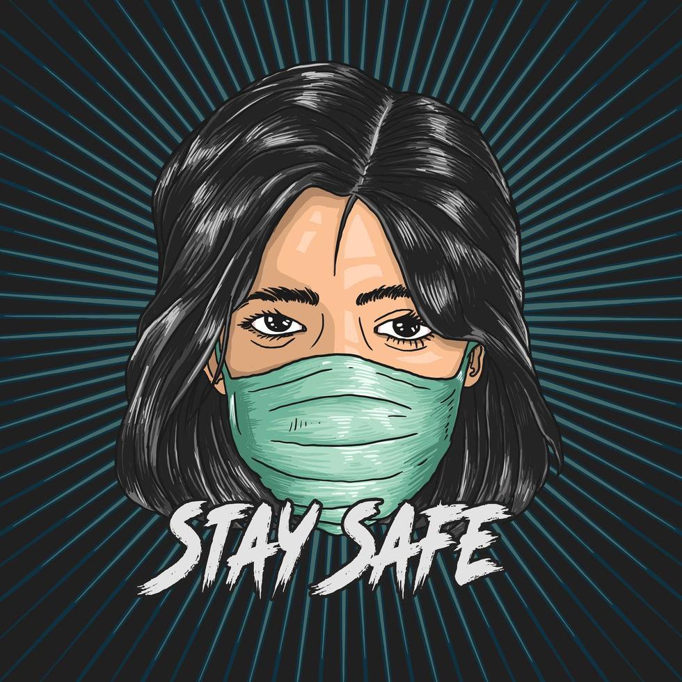 kvinna som bär mask för att hålla sig säker från covid-19 vektor