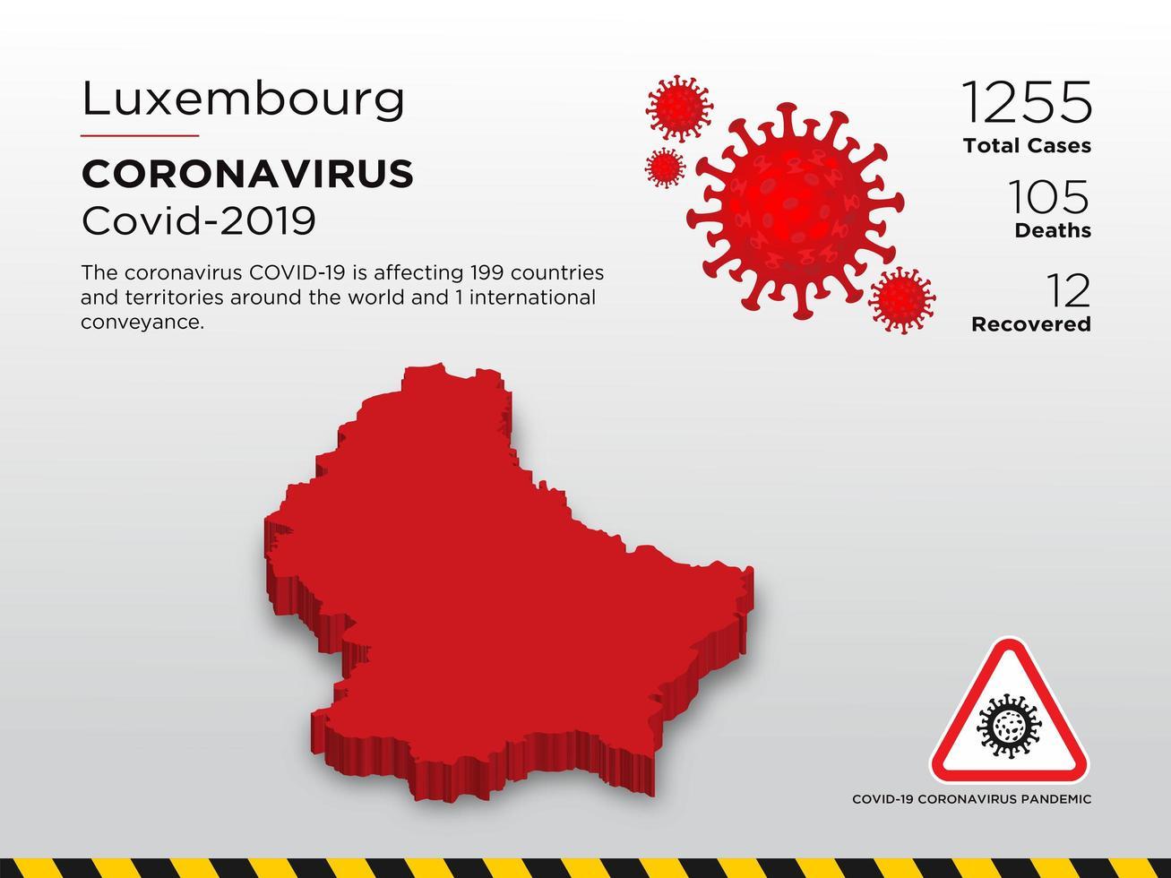 Luxemburg betroffene Landkarte des Coronavirus vektor