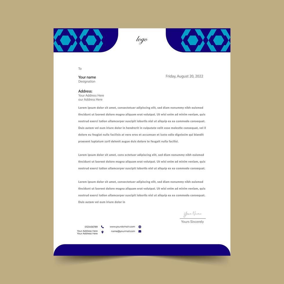 blaue geometrische Briefkopfschablone vektor
