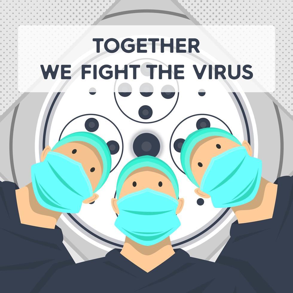 tillsammans bekämpar vi virusläkare-affischen vektor