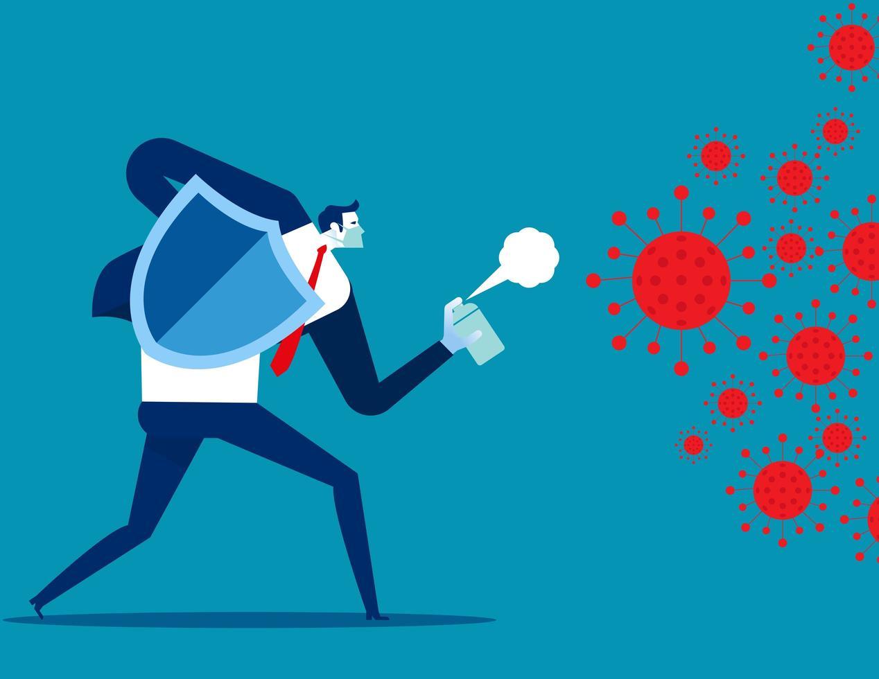 Mann kämpft gegen Covid 19 Virus vektor