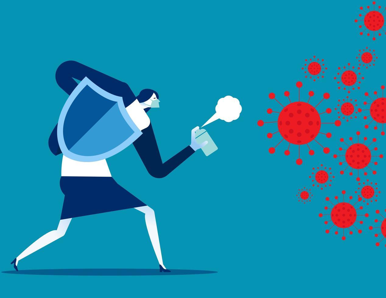 Frau kämpft gegen Covid vektor