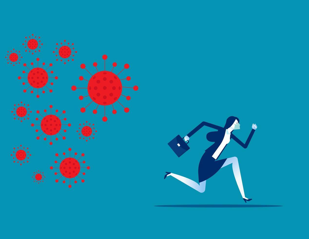 affärskvinna som flyr från covid 19 vektor