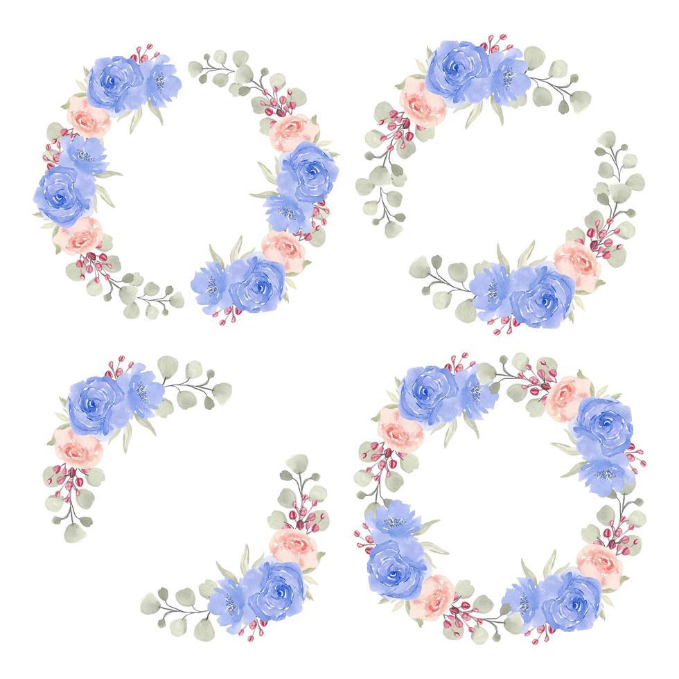 akvarell blå och rosa ros cirkel gränser vektor
