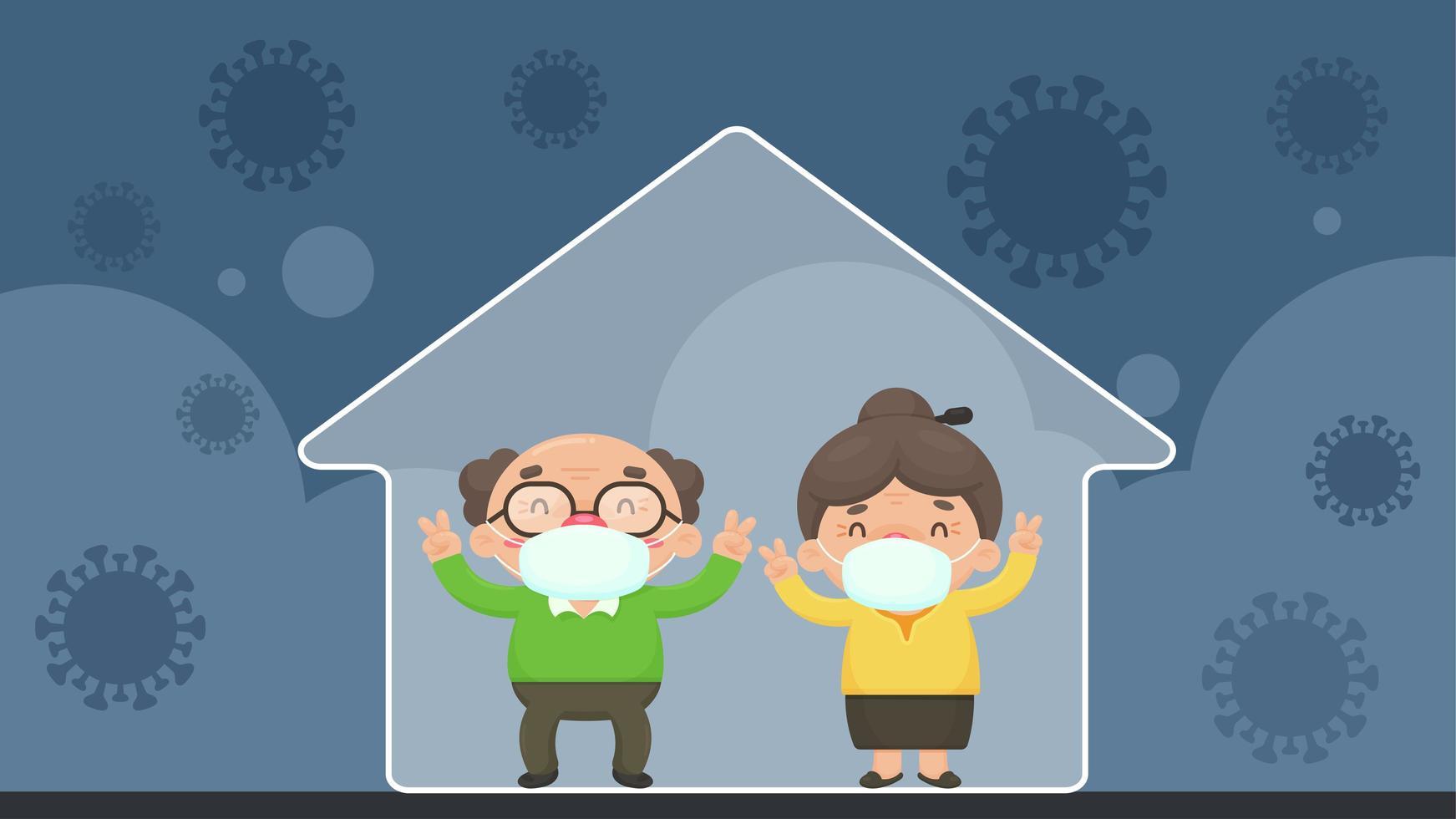 soziale Distanzierung des älteren Paares im Karikaturstil vektor