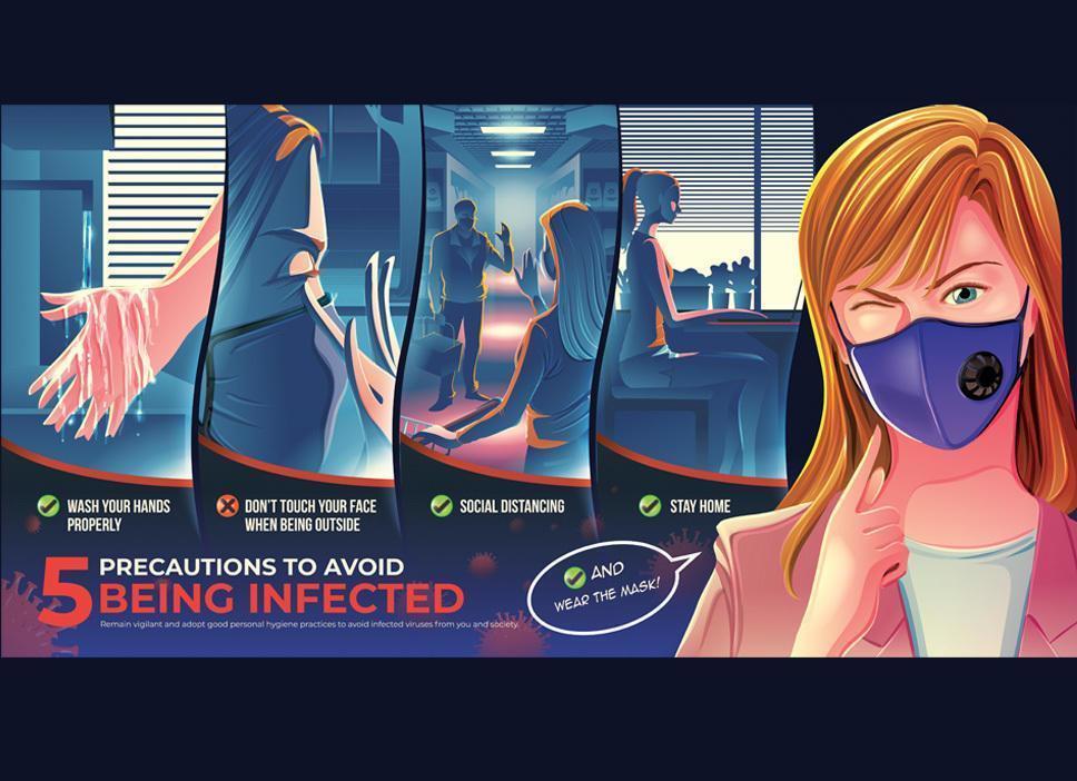 illustrerad affisch med försiktighetsåtgärder för att undvika att smittas vektor