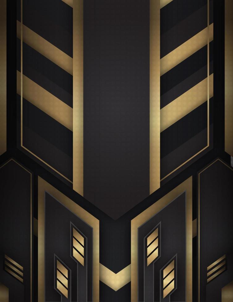 Gold und schwarzer Hintergrund mit abstrakten Formen vektor