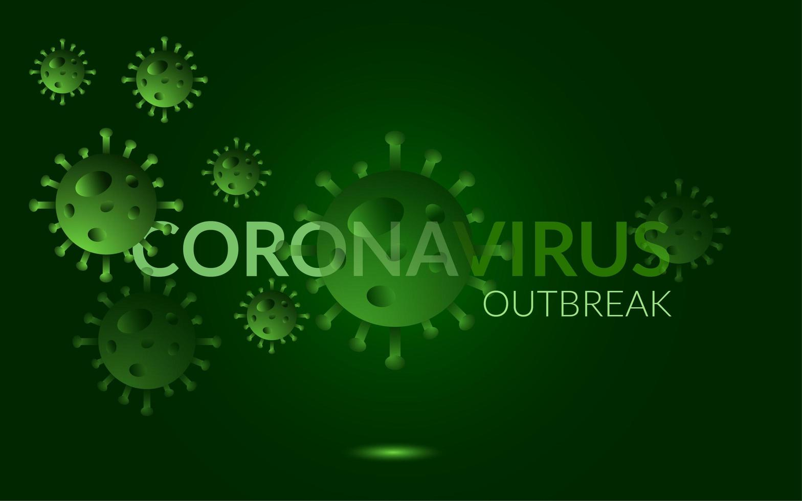 grün leuchtendes Coronavirus-Ausbruchsplakat vektor