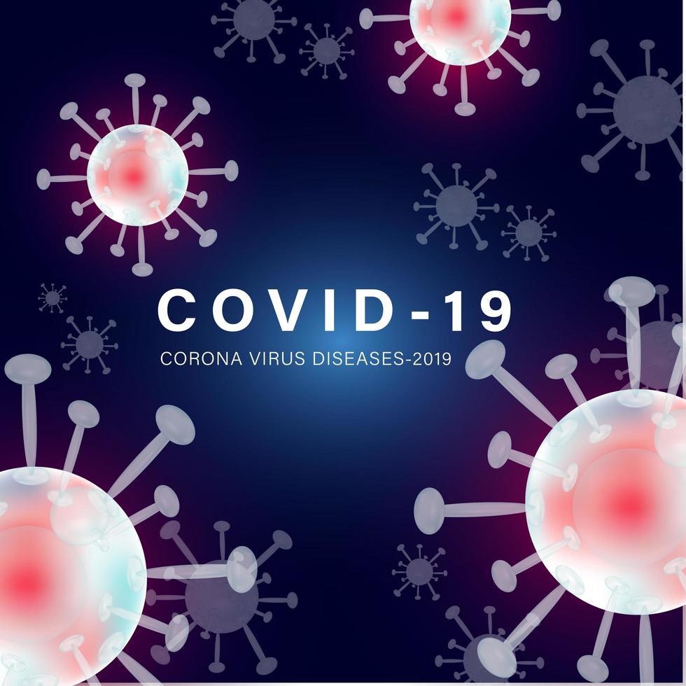 covid-19 quadratisches Banner mit rosa Zellen vektor