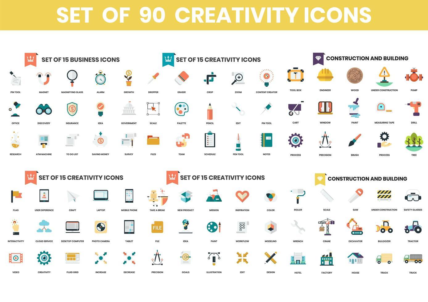 uppsättning av 90 kreativitet och konstruktionsikoner vektor
