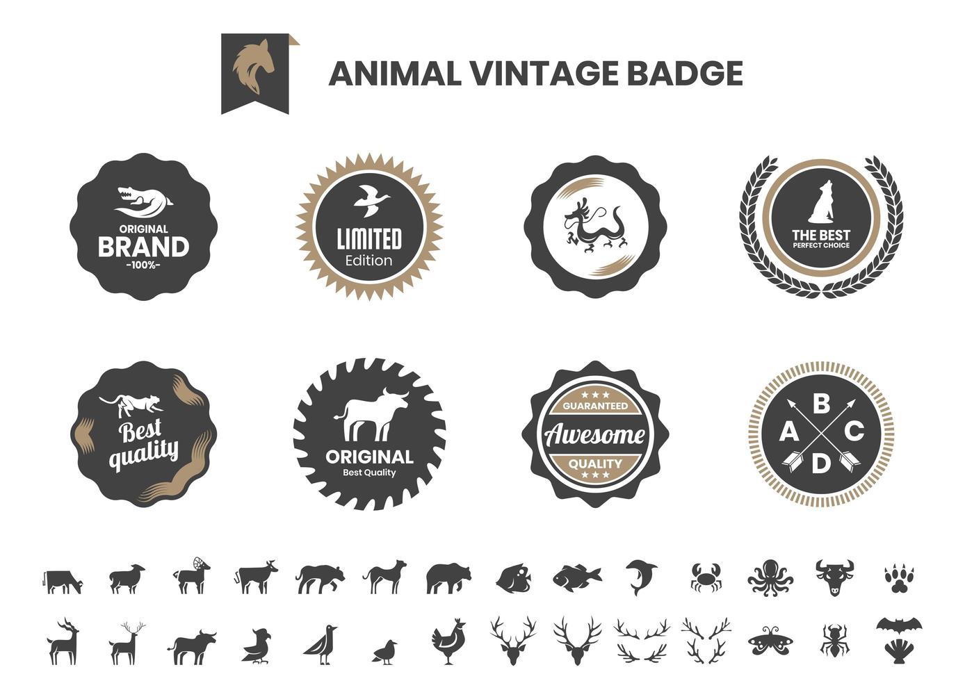 Vintage Abzeichen Set mit Alligator und anderen Tieren vektor