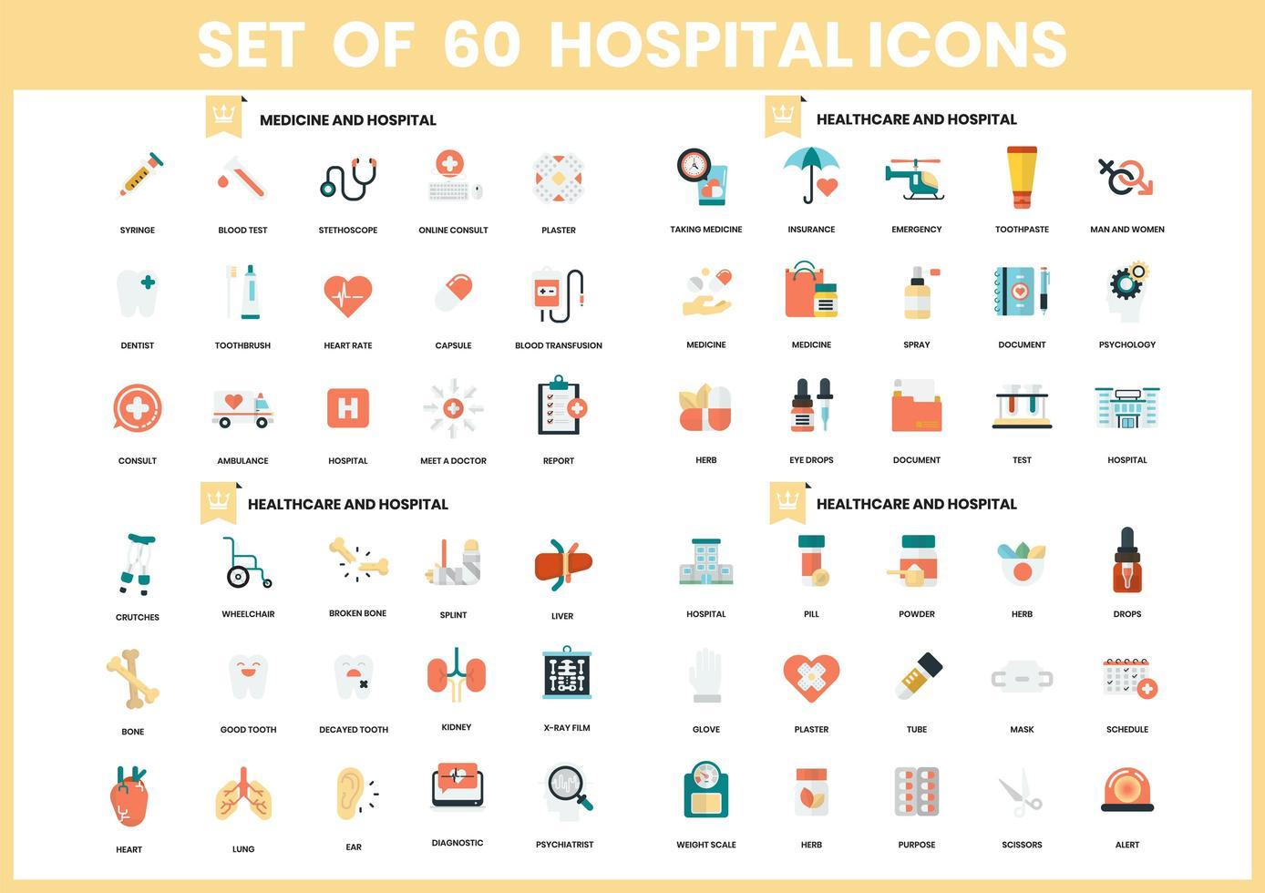 Satz von 60 Gesundheits- und Krankenhausikonen vektor