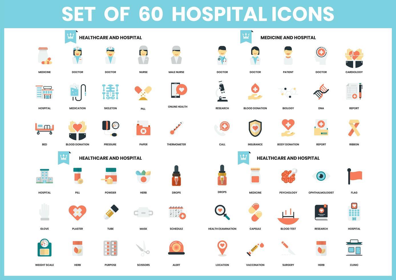 uppsättning av 60 medicin och sjukhus ikoner vektor
