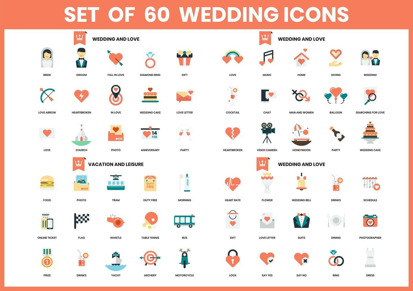 Satz von 60 Hochzeits-, Liebes- und Urlaubsikonen vektor