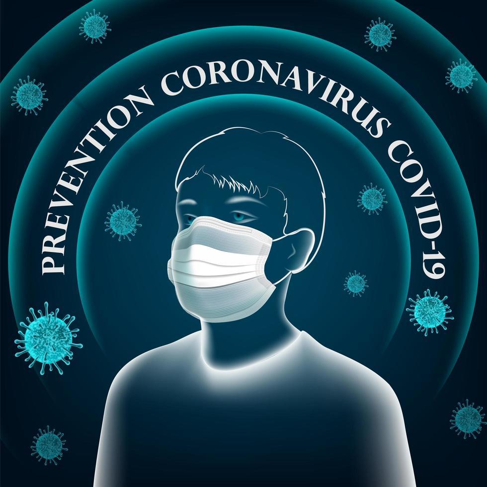 Plakat mit transparentem Mann, der Maske für Coronavirus trägt vektor