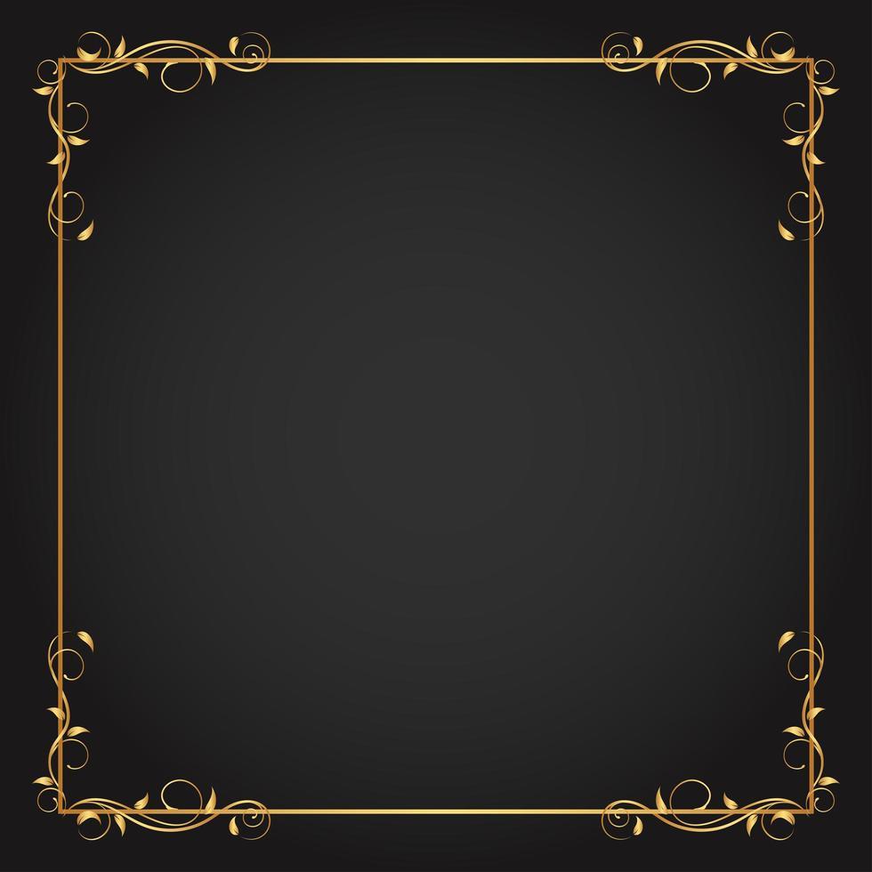 guld fyrkantig ram med bladhörn accenter vektor