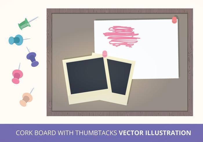 Cork Board med tumlar Vector Illustration