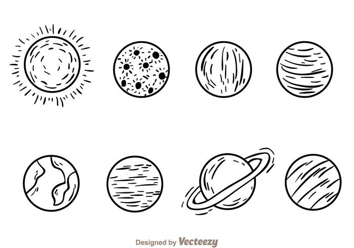 Planeter Handdragna ikoner vektor