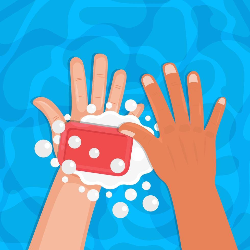 Handwäsche mit Seife über Wasser vektor
