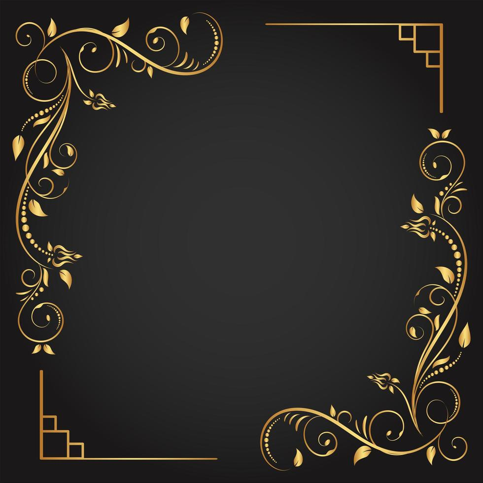 dekorativt guldhörn blomstra fyrkantig ram vektor
