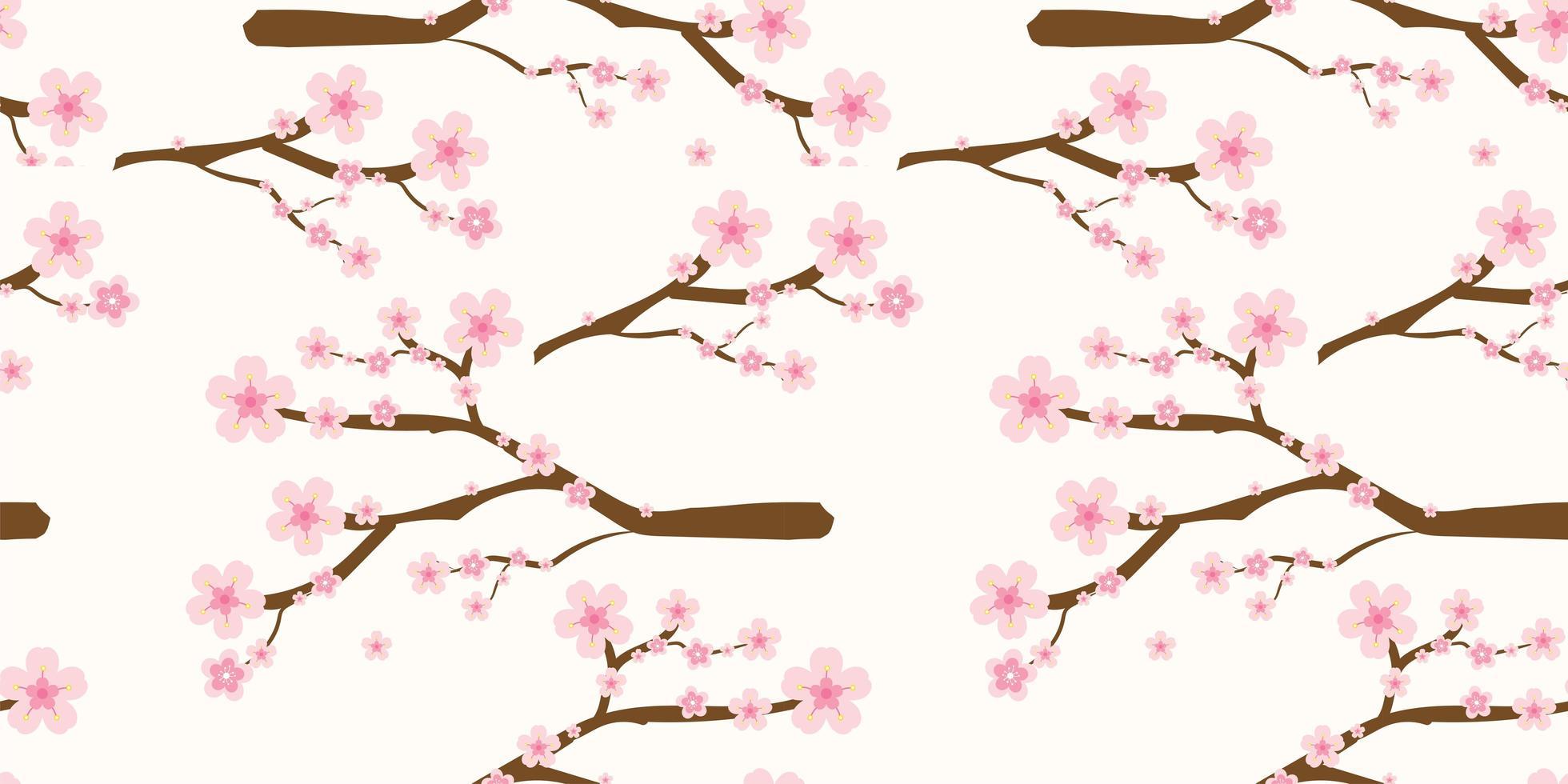 japanska körsbärsblommor och grenmönster vektor