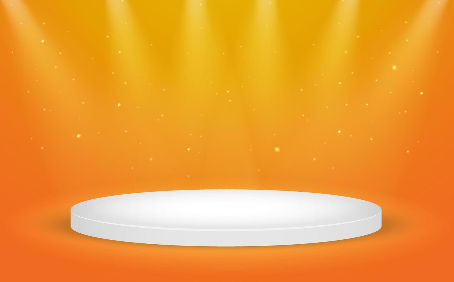 vita runda vinnaren podium på orange vektor