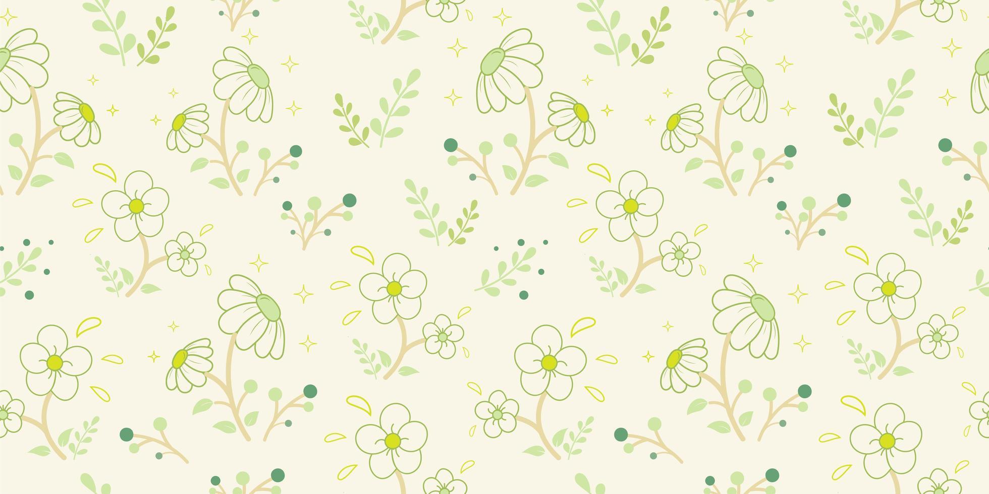 vita blommor med gröna knoppmönster vektor