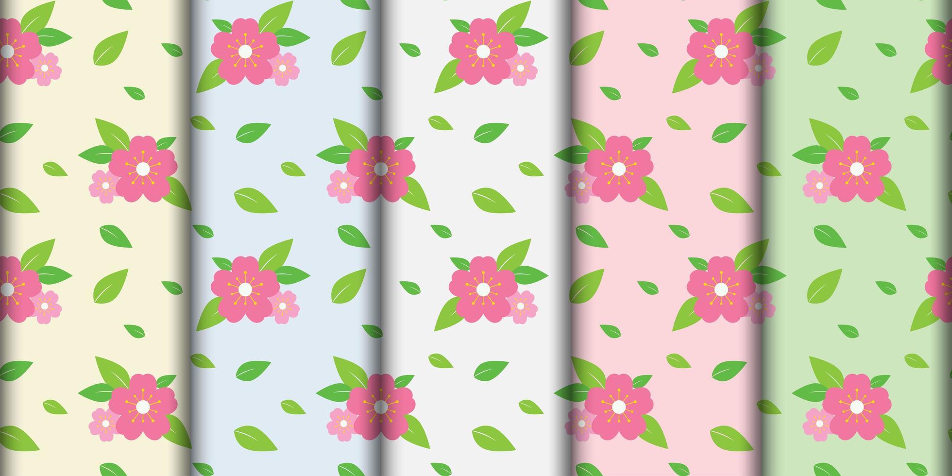 sömlös rosa blommönster set vektor