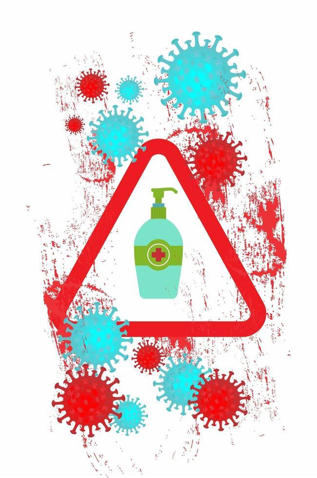 Grunge Coronavirus Poster mit Händedesinfektionsmittel vektor