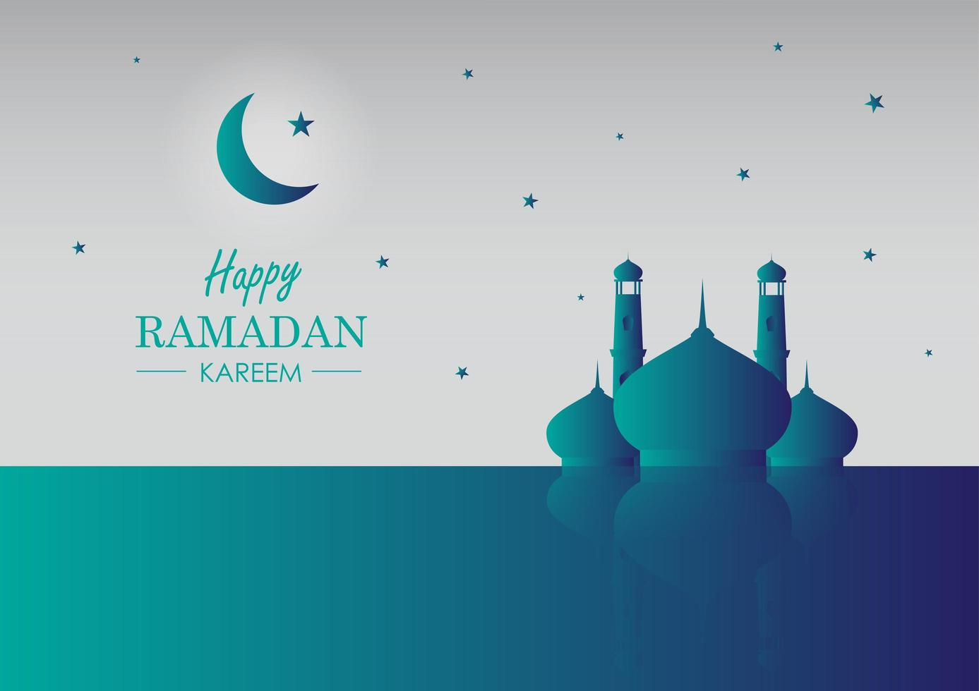 ramadan kareem moské reflektion kort vektor