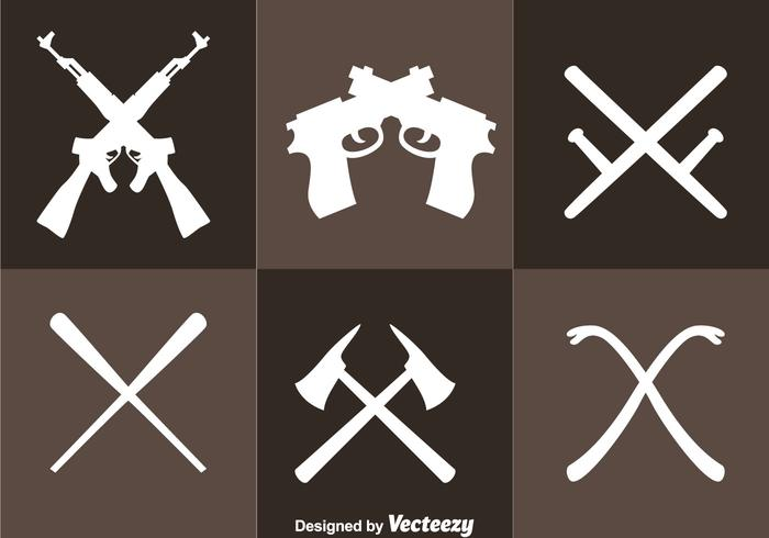 Korsade vapen ikoner vektor