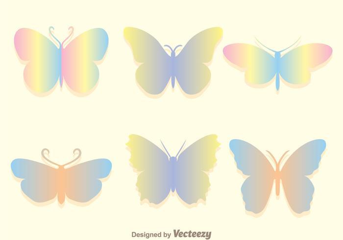 Weiche Regenbogen-Schmetterlings-Ikonen eingestellt vektor