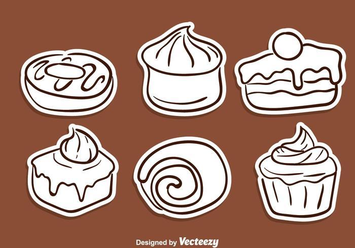 Tårta skiss ikoner vektor