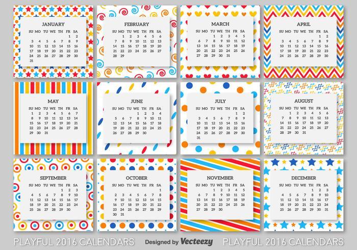 2016 Kalendervorlage vektor