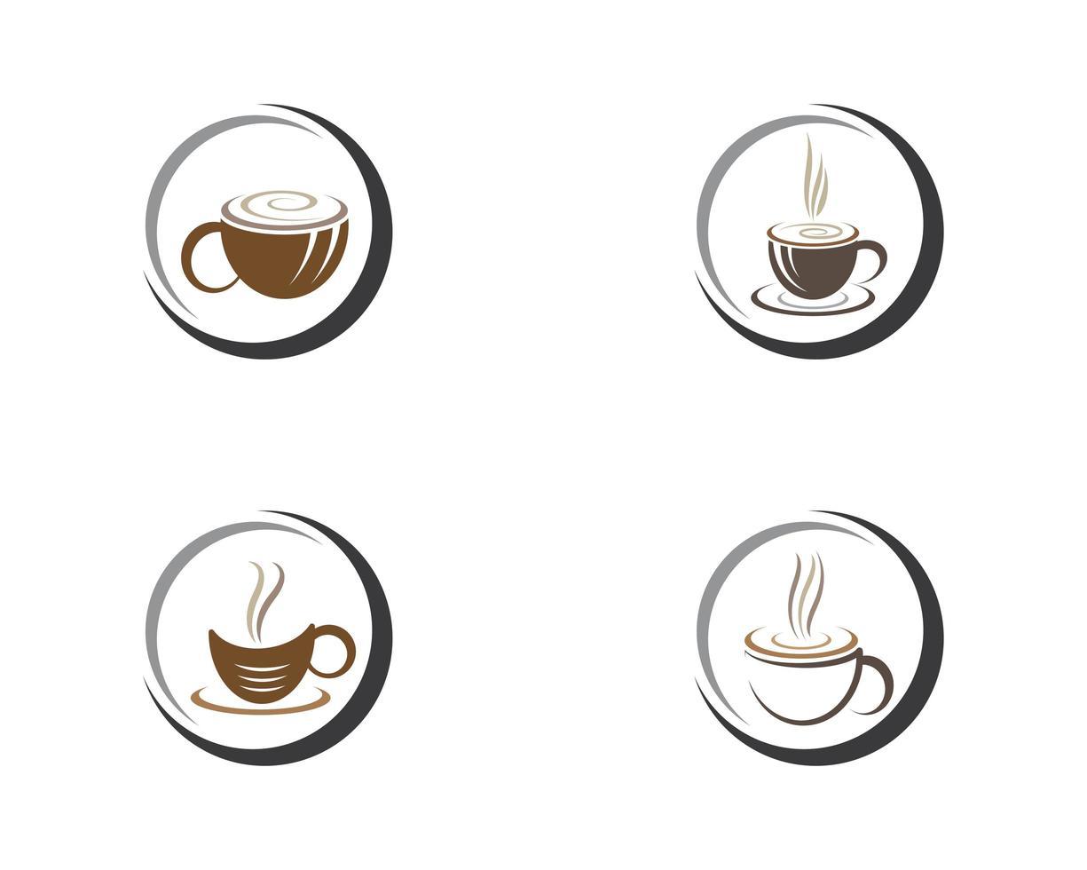 kaffekopp logotyp malluppsättning vektor