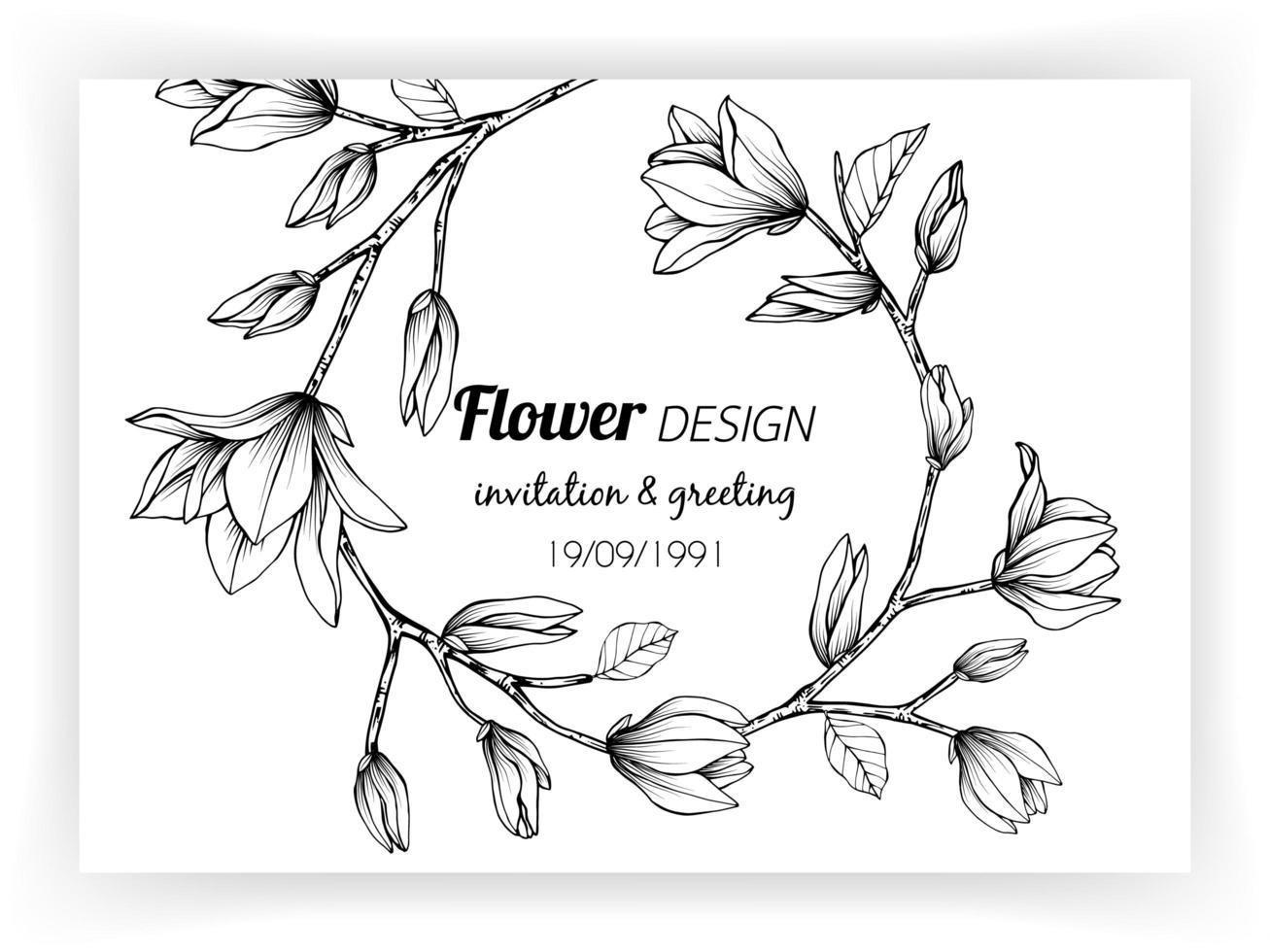 kortdesign med magnoliablomma och blad vektor