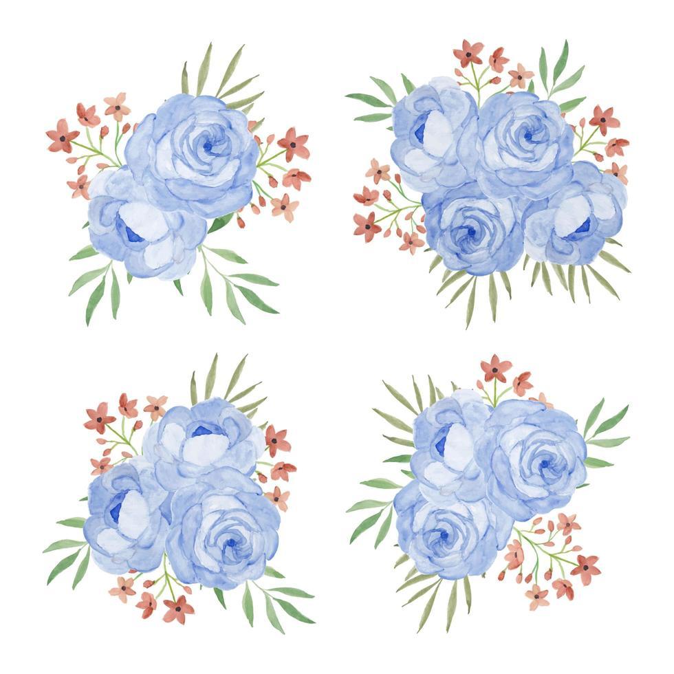 blombukett med rosblommig akvarelluppsättning vektor