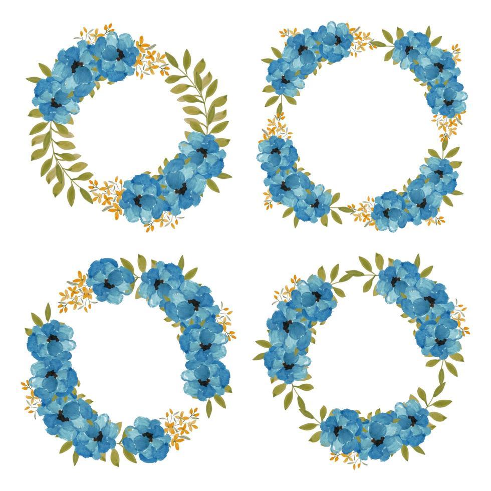 handmålad akvarellblå blommig kranssamling vektor
