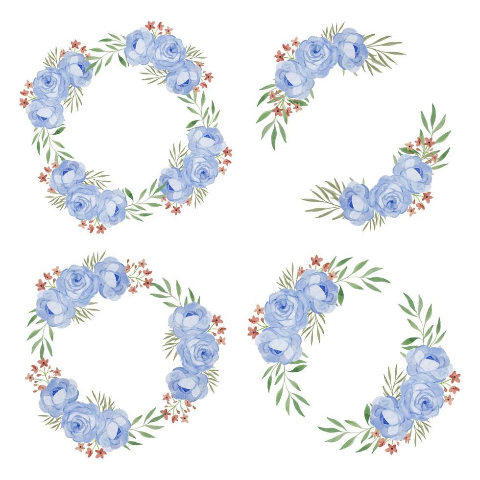 akvarell blå ros blomma krans ram samling vektor