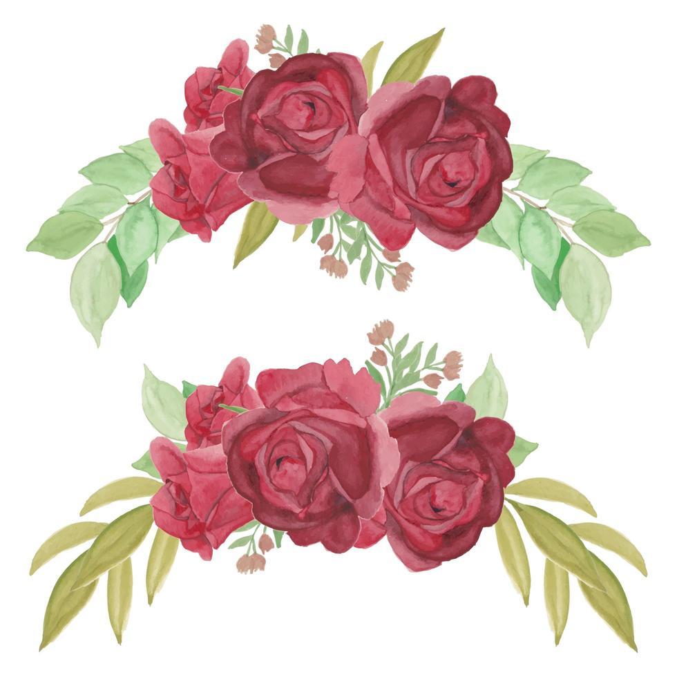 handmålade röd ros blomma kurva arrangemang set vektor