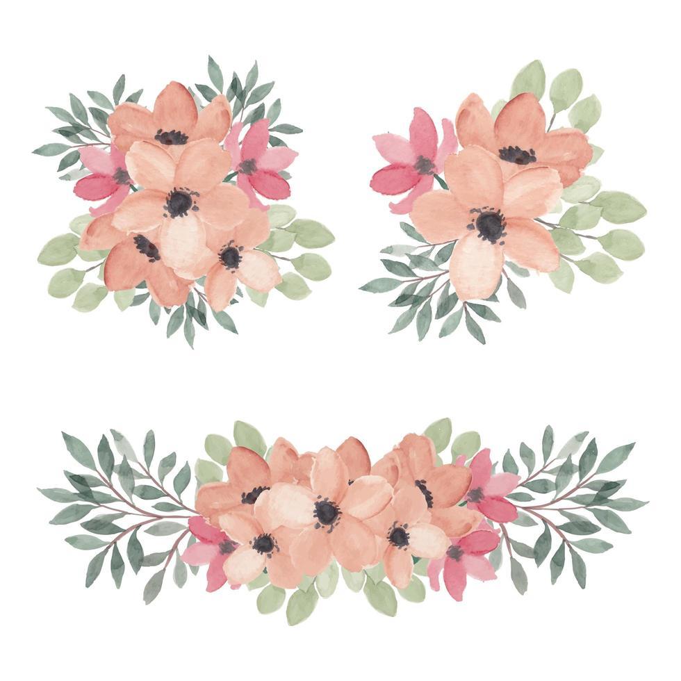 blommorosa arrangemang samling akvarell uppsättning vektor